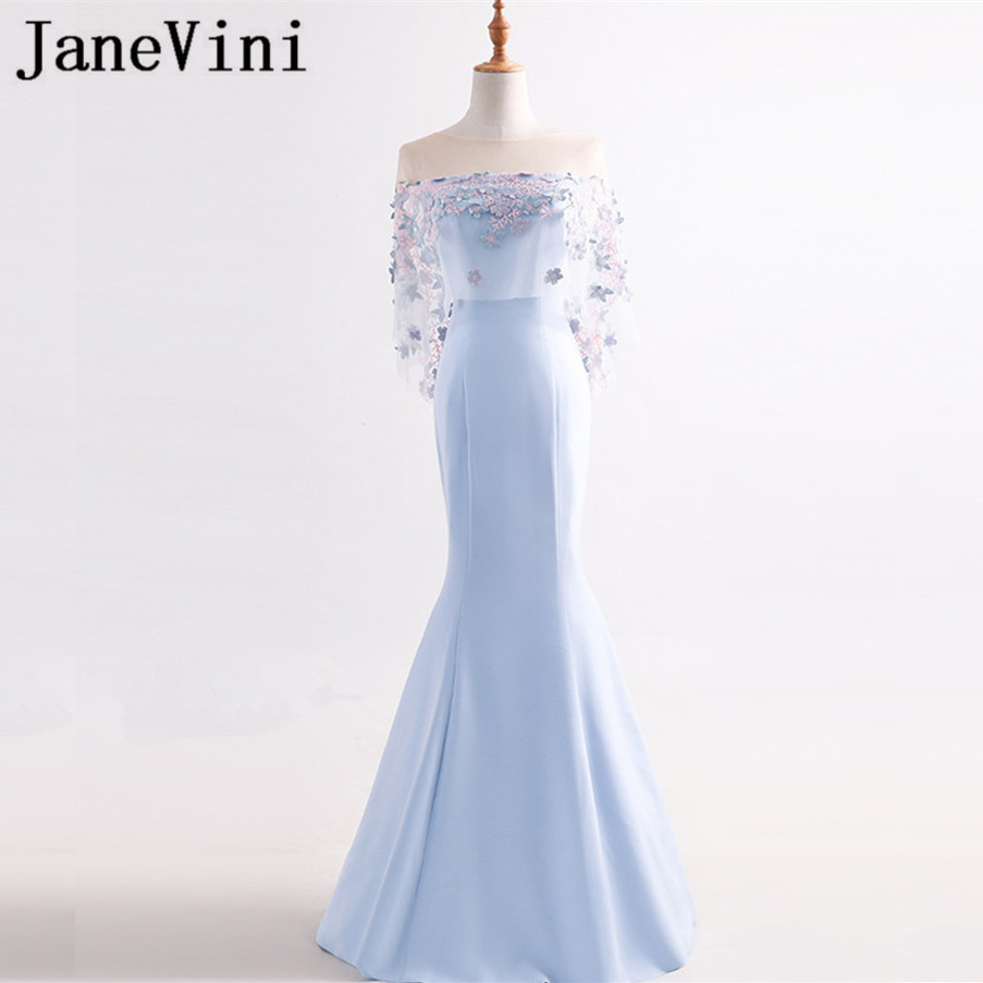 JaneVini Elegant Mermaid Long   Bridesmaid     Dresses   With Sleeves Sheer Neck Embroidery Appliques Zipper Back Wedding Party Gowns