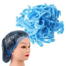 100Pcs Clear Disposable Hair Salon Shower Cap Elastic Waterproof Bathin