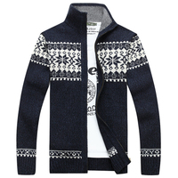 2017 New Men's Thick Jacquard Pattern Zip up Open Knit Cardigan Sweater