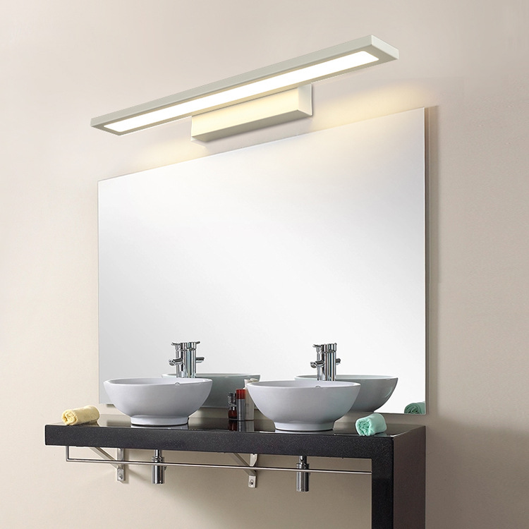 Led modern minimalist mirror front lamps bathroom toilet water fog proof makeup mirror light 5730 wall sconce 8W AC85-265V light m best price concise and fashionable mirror light led bathroom toilet mirror light moisture proof anti fog crystal wall lamp