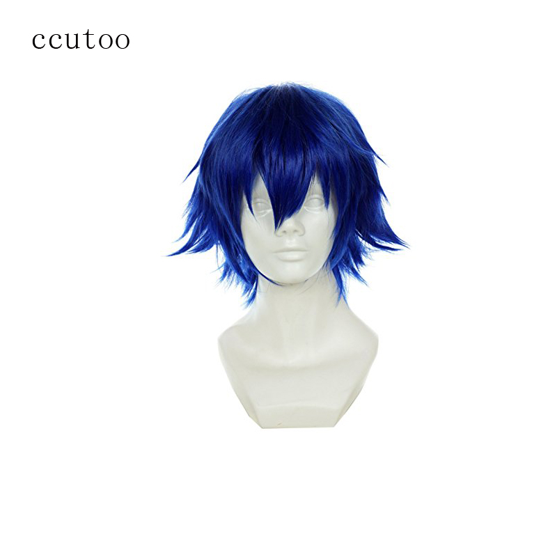 "ccutoo Tokyo Ghoul Kirishima Ayato 12"" Blue Short Fluffy Layered Synthetic Men's Hair Cosplay Costume Wigs Heat Resistance Fiber"