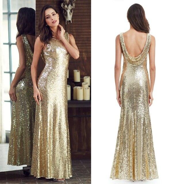 Lange Sparkle Prom Dresses Ever Pretty 2020 Nieuwe V Back Vrouwen Elegante XXDG01170PEC Sequin Mermaid Maxi Gouden Avond Party jurken