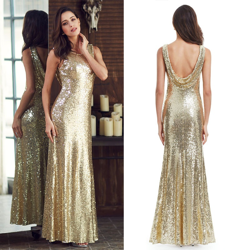 Long Sparkle   Prom     Dresses   Ever Pretty 2019 New V-Back Women Elegant XXDG01170PEC Sequin Mermaid Maxi Gold Evening Party   Dresses
