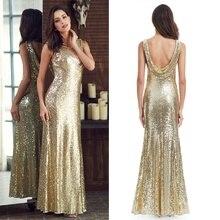 Vestidos largos de fiesta para mujer, brillantes, hasta el 2020, con espalda en V, elegante XXDG01170PEC, sirena de lentejuelas, vestidos largos de noche dorados