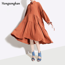 Hongsonghan Spring 2019 womens new Korean version of large size dress loose thin big hem pleated shirt midi party tide