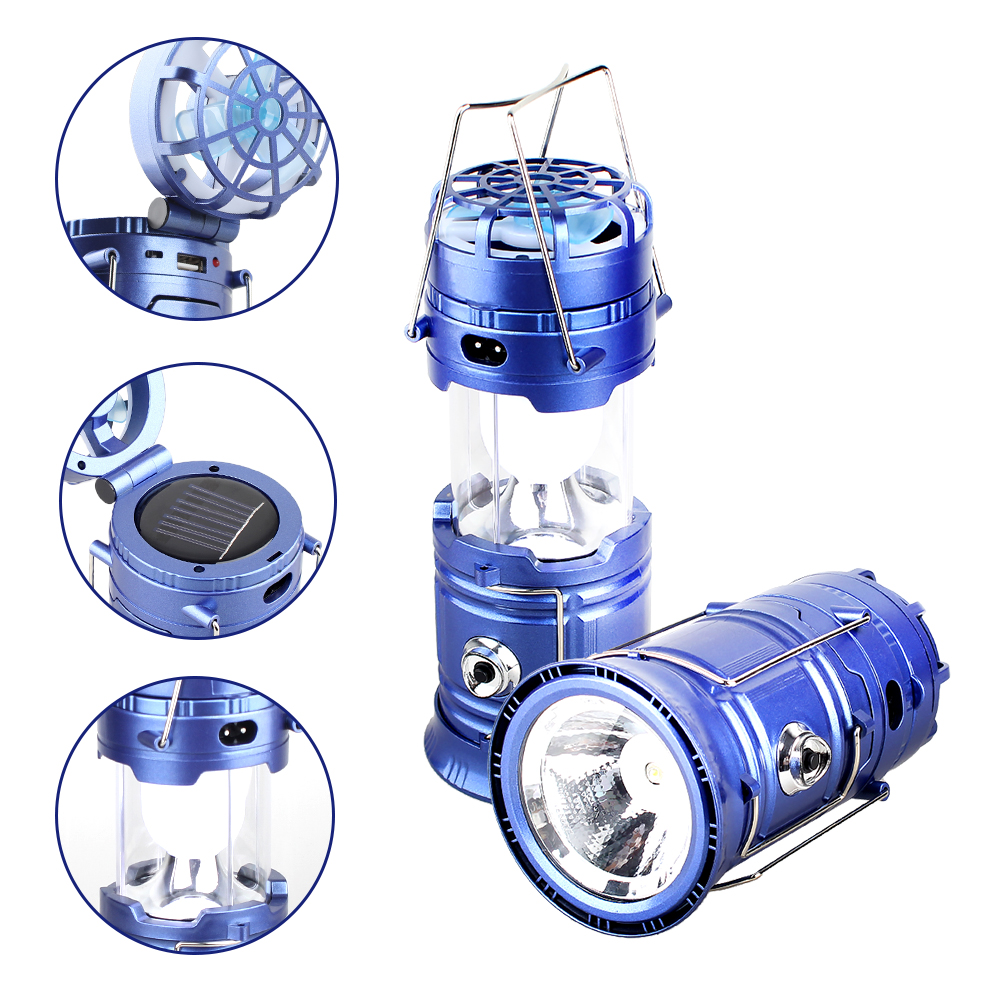 T-SUNRISE 5W LED Camping Lights Outdoor Tent Camping Lantern Collapsible Solar Flashlights Lamp With Mini Fan Line Rechargeable