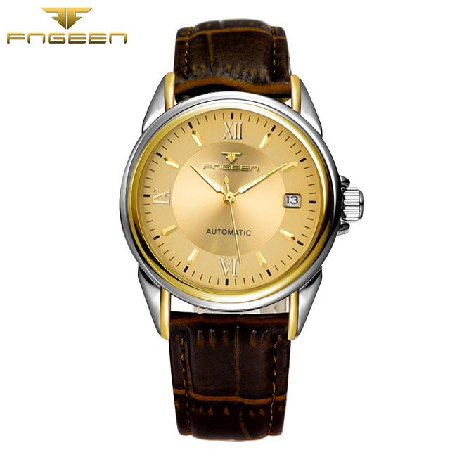FNGEEN 6602 Moda relógio de pulso Homens de negócios Relógio Mecânico Automático de couro marrom qualidade superior famoso relógio calendário do vintage