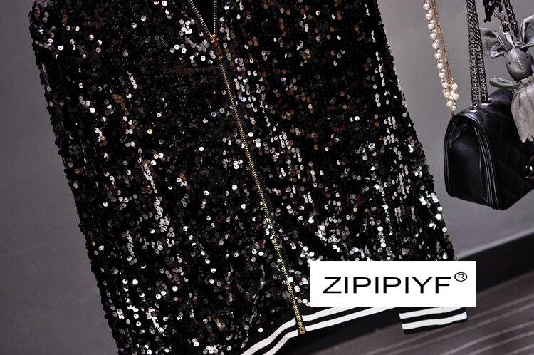 2018 Automne Haute Chandail Éclair Femmes Top De Fermeture Décoration cou À Qualité Sequin Mode Occasionnels C2457 O Manches Noir Longues Lâche wwq8r1