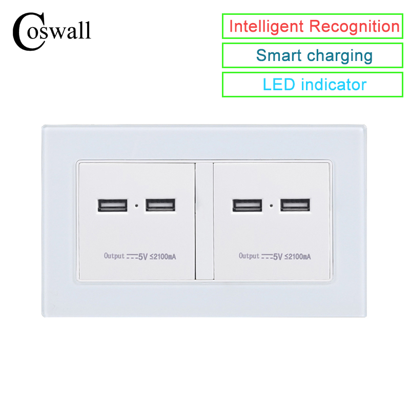 COSWALL Wall Socket 4 USB Smart Induction Charge Port For Mobile 5V 4.2A Output LED Indicator Crystal Tempered Glass PanelCOSWALL Wall Socket 4 USB Smart Induction Charge Port For Mobile 5V 4.2A Output LED Indicator Crystal Tempered Glass Panel