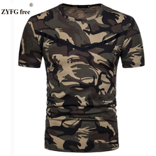 2018 summer style New short sleeved T-shirt Male camo pattern color slim O-neck Cotton blended casual t-shirt men EU/US size XXL 5902001399 men s stylish custom fitting cotton blended shirt black xxl