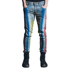 New Colorblock Man Jeans Fashion Gradient Casual Trousers