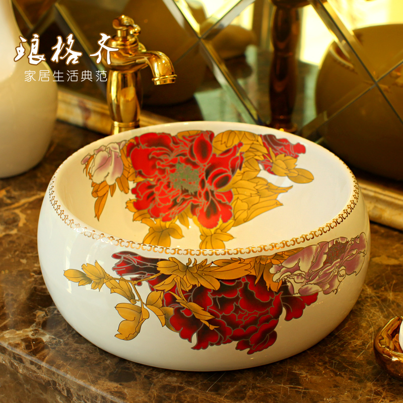 Jingdezhen ceramic sanitary wash basin art basin red peony.Jingdezhen ceramic sanitary wash basin art basin red peony.
