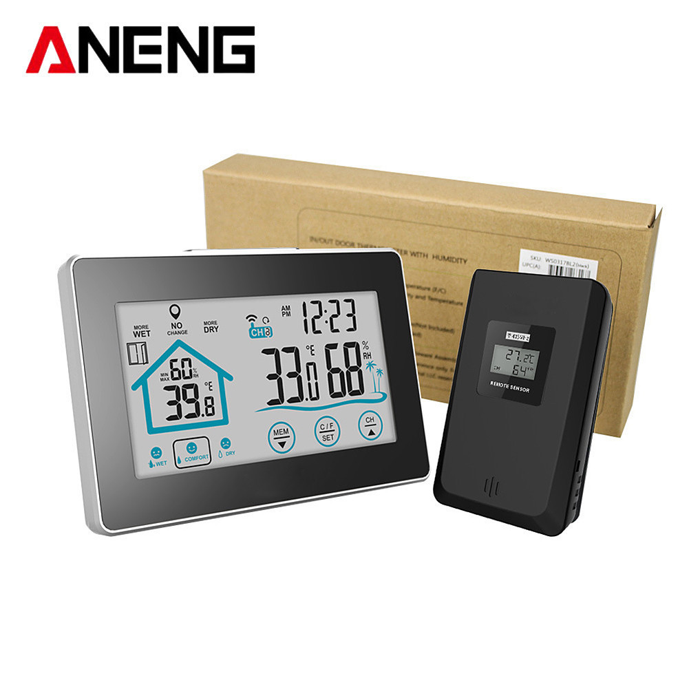 Digital Weather Station Temperature Humidity Meter Sensor Hygrometer Thermometer Wireless Touch LCD Clock Indoor Outdoor 1pcs high accuracy lcd digital thermometer hygrometer electronic temperature humidity meter clock weather station indoor