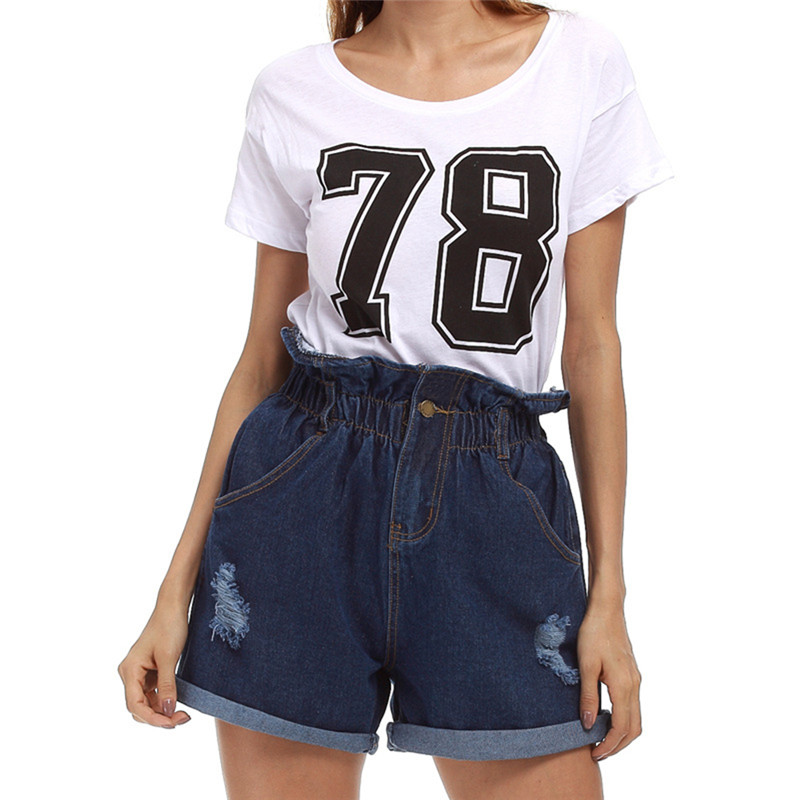 Helisopus Women Summer   Short   Jeans Plus Size High Waist   Shorts   Casual Denim Zipper Pocket Women's Hole Fashion   Short   Pants