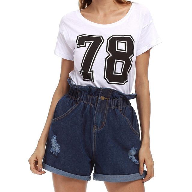 582ad30df Helisopus Mulheres Verão Short Jeans Plus Size Cintura Alta Shorts Jeans  Casuais Bolso Com Zíper Buraco Moda Calças Curtas das Mulheres
