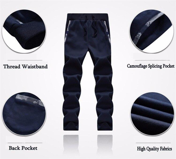 Повседневный мужской спортивный костюм зимний комплект из двух предметов хлопок флис толстая куртка с капюшоном + брюки спортивный костюм