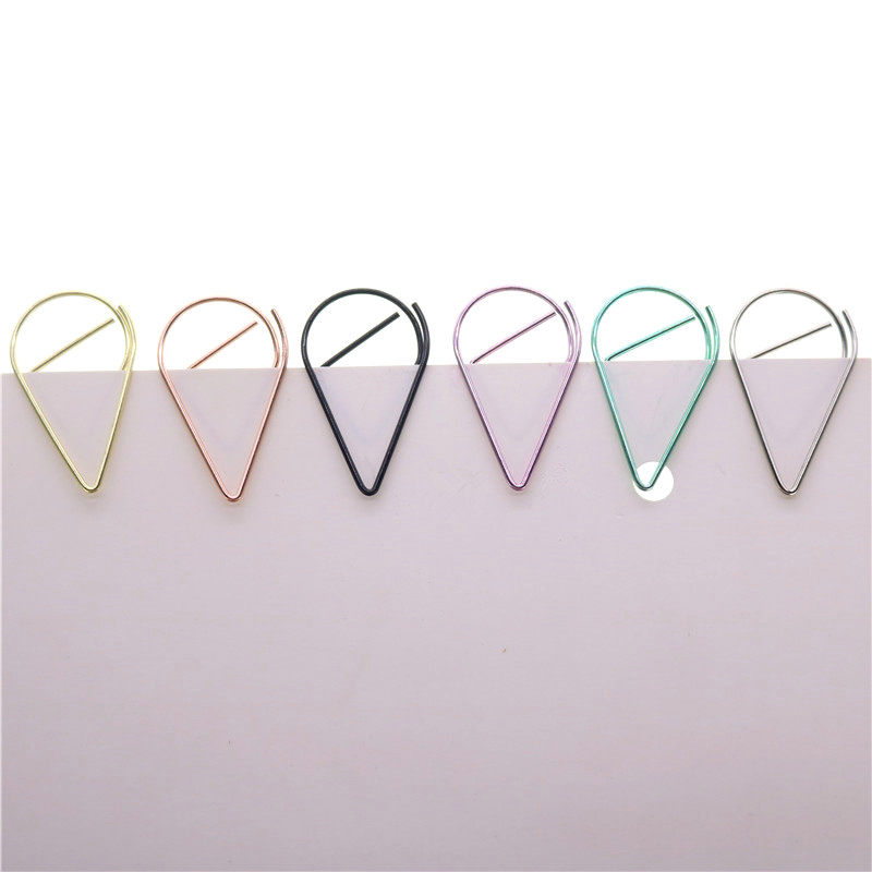 30pcs 33 * 20mm Large Paper Clip Bookmarks Metal Bookmarks Drop-shaped Bookmark School Students Office Stationery 6 Colors Clips