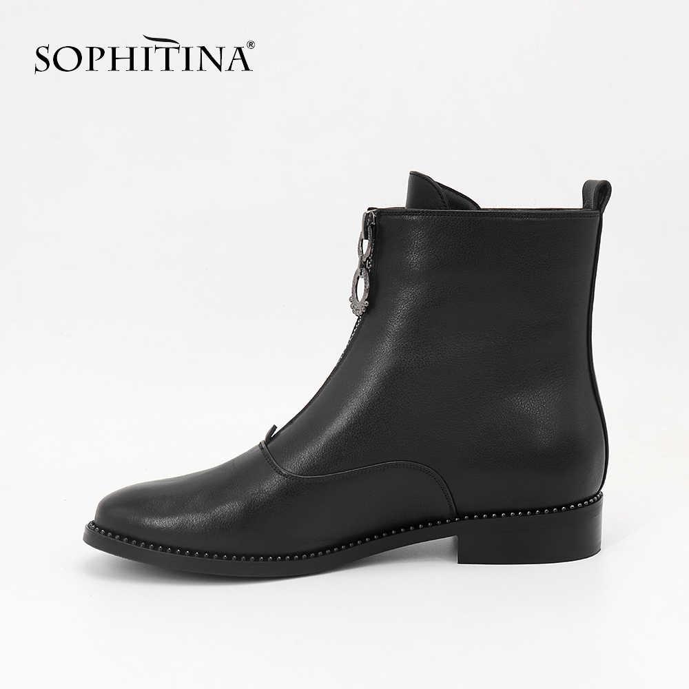 SOPHITINA marka ayakkabı hakiki deri yuvarlak ayak fermuar Casual kadın ayakkabı el yapımı düşük topuklu sıcak tutmak kısa peluş çizmeler MC10
