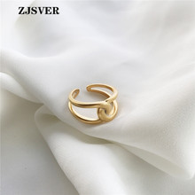 ZJSVER Korean Jewelry 925 Sterling Silver Rings Golden Simple Retro Twist Winding Women Ring For Festival Or Party Gift zjsver 925 sterling silver jewelry rings classic simple infinity chain glossy adjustable ring for women girls party or festival