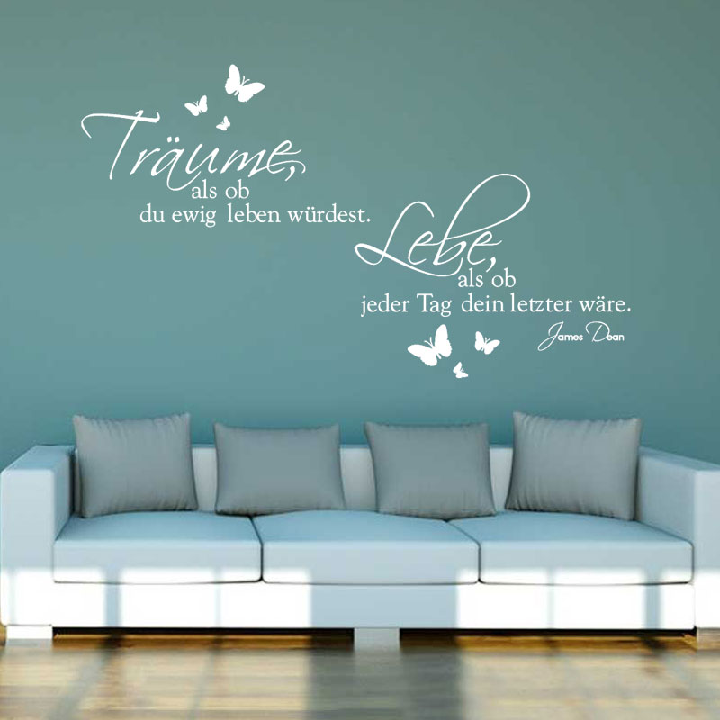 Stickers Traume Und Lebe Vinyl Wall Dcals German Wall Art Decor Living Room Home Decor Poster House Decoration 46 cm x 80 cm in Wall Stickers from Home Garden