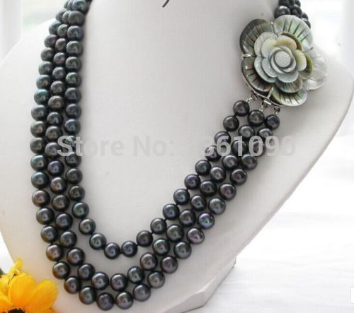 triple strands natural 9-10mm tahitian black pearl necklace 18-20inch hot sale new style 18 9 10mm tahitian natural black pearl necklace