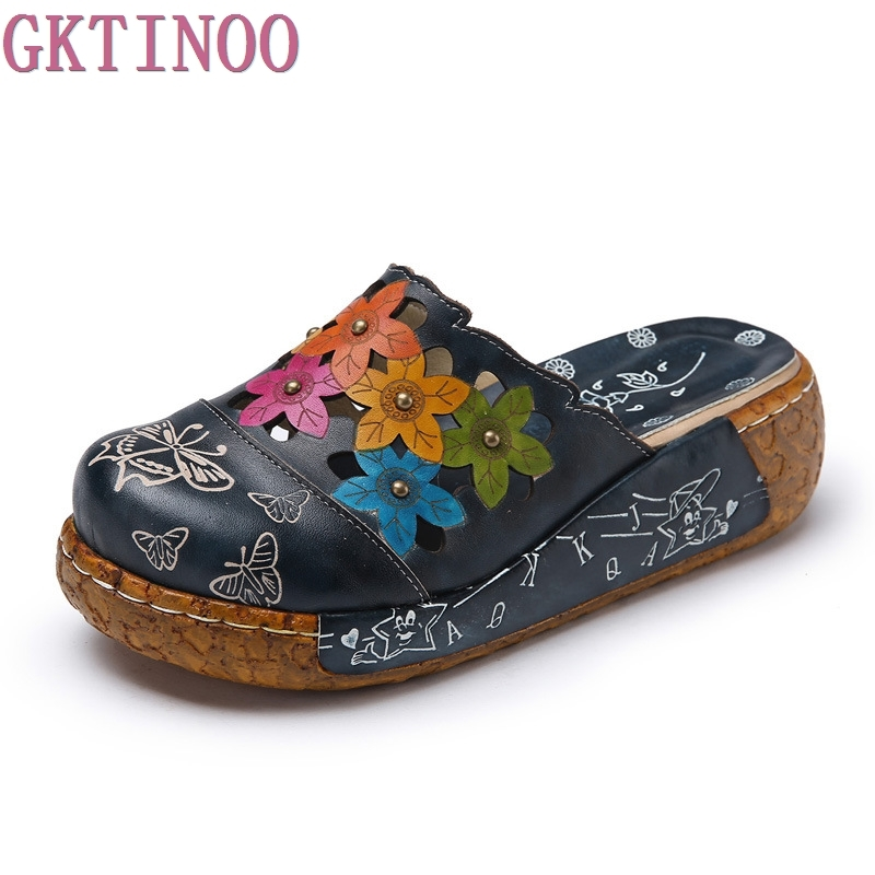 2018 Estilo Étnico Genuínos das Mulheres de Couro do Verão Sapatos Sandálias Plataforma wedges Slides Handmade Flor Mulheres Chinelo