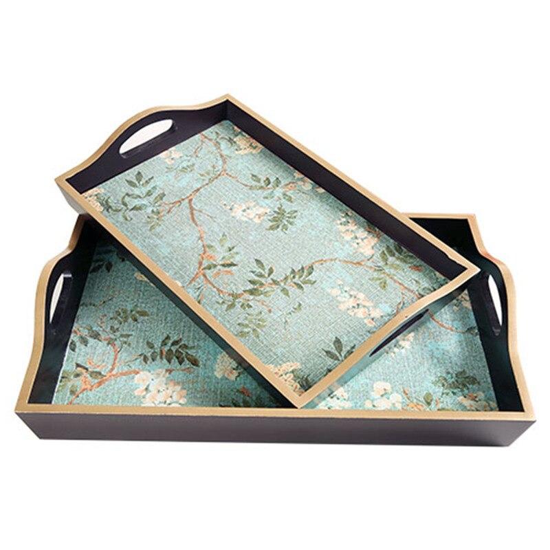 Plateaux de service en bois avec poignée | De Style américain vaisselle assiettes à thé restauration plats rectangulaires plateaux à dîner
