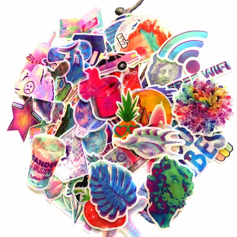 70pcs/lot Vaporwave And Pop Art Reflective Colorful Stickers For Car Skateboard Helmet Bicycle Suitcase Doodle Fashion Decals Diversified In Packaging