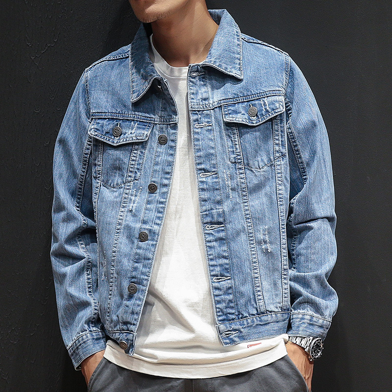 LEDINGSEN Distressed Blue Denim Jacket men Autumn Ripped Jeans Jacket Coat Male Slim Fit Casual Coats Cotton Plus Size 3XL джинсовая куртка мужская