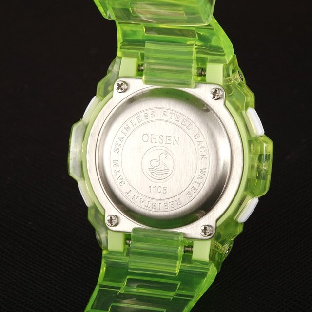 NEW 2017 OHSEN Digital Sports Watch Wristwatch Children Girls 30M Waterproof Silicone Band Cute Green Hand Clocks For Kids Gift