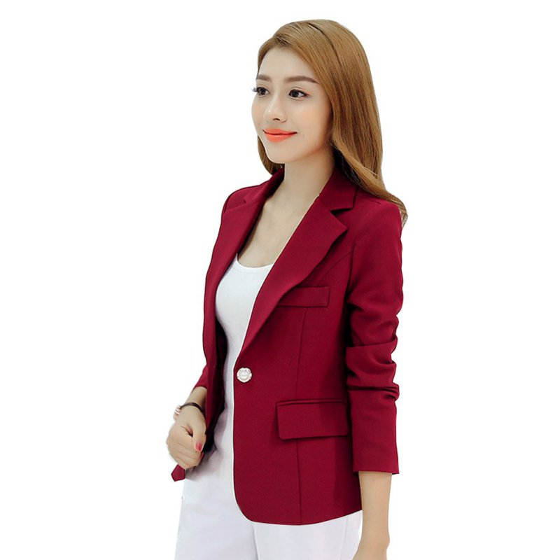 Frauen Herbst Blazer Langarm Single Button Damenjacke Büro OL Slim - Damenbekleidung - Foto 4