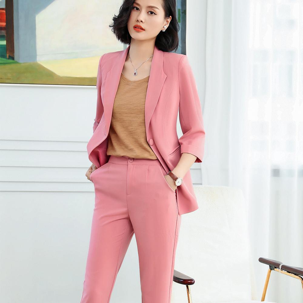 2 piece set women Pant Suit female pink new career suit 2019 summer three quarter sleeve jacket + trousers casual suit