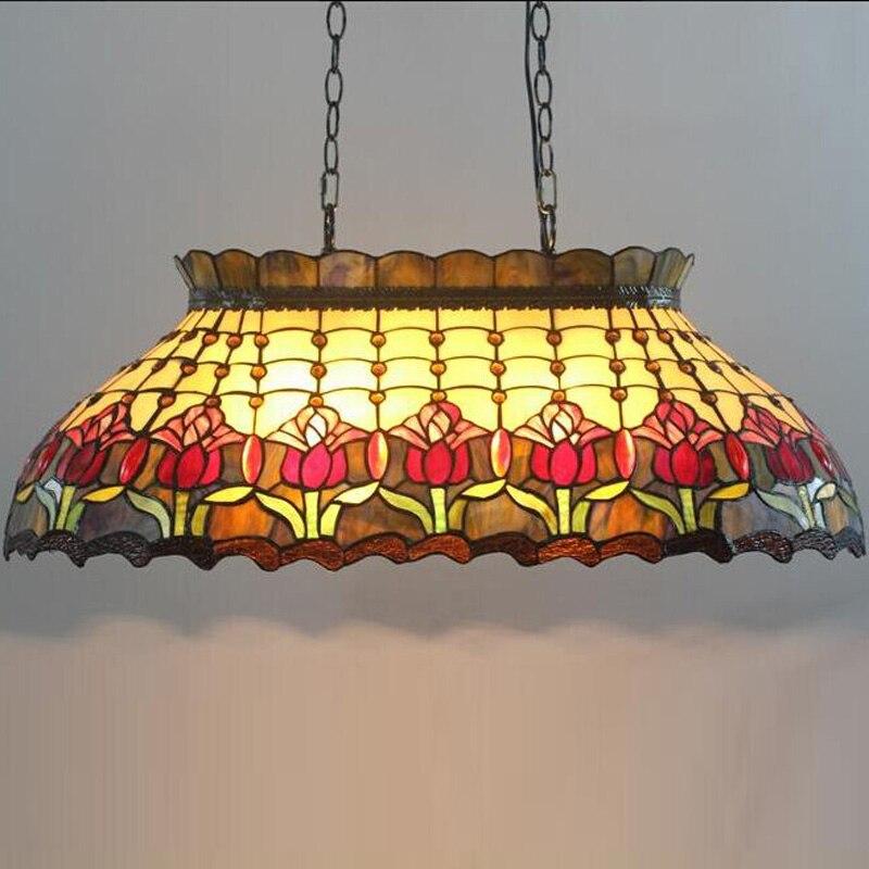 Tiffany berceau billard bar villa verre glaçure couleur art suspension