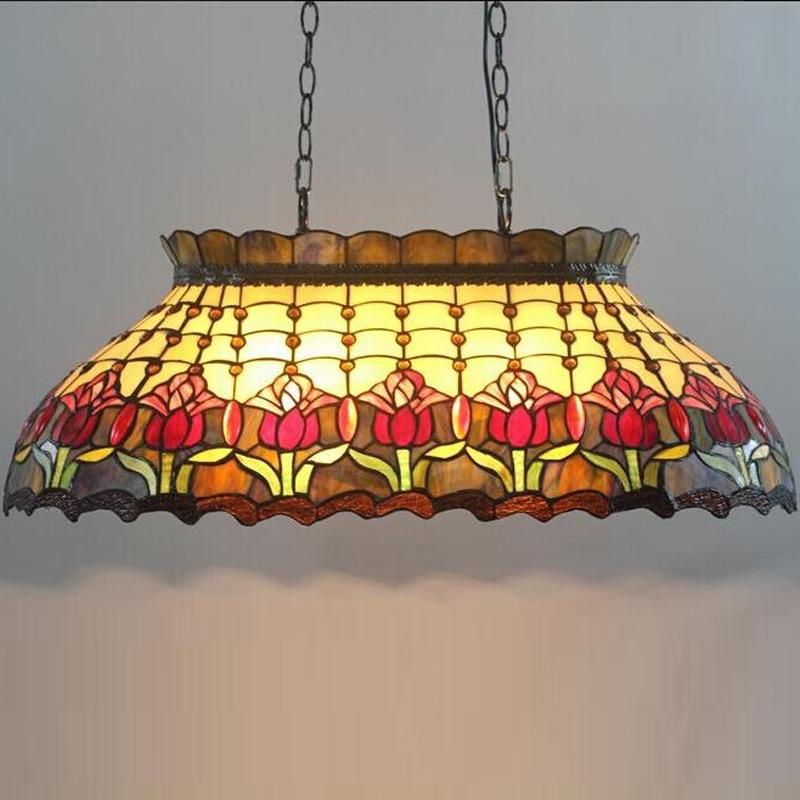 Tiffany cradle billar bar villa vidrio glaseado color arte lámpara colgante