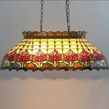 Тиффани Колыбель Бильярд Бар вилла стеклянный глазированный цветной художественный подвесной светильник