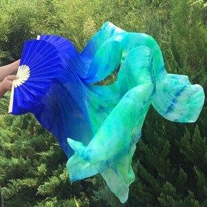 Image 4 - Großhandel gefärbt 100% reine natürliche seide fan schleier für bauchtanz sexy 180cm lange seide fan für tänzer zeigen auf der bühne EIN paar