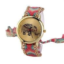New Vogue Informal DIY Elephant Sample Girls Costume Watches Nationwide Weave Bracelet Montre Femme Quartz Wrist Watch PT