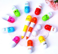 10 pcs/LOT Cartoon Colorful Flexible Ballpoint Pen pill pen new Korean Stationery Creative Gift School Supplies Capsule Pen
