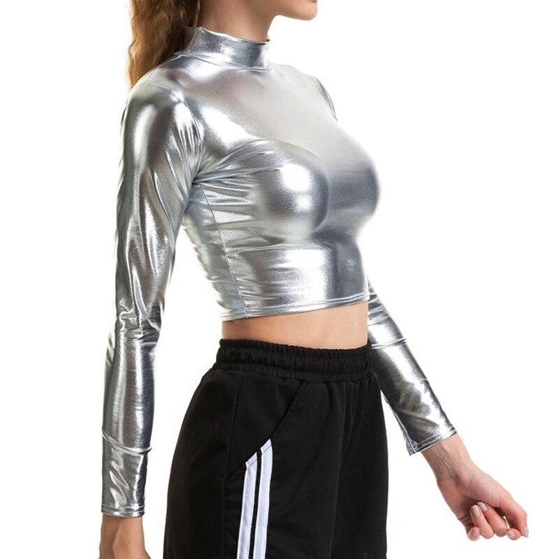 מסנוור מתכתי צבעים נשים בסיסית טי חולצה אופנה גולף ארוך שרוול יבול חולצות סקסי סקיני T חולצות מקרית Streetwear