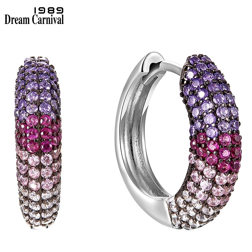 DreamCarnival1989 New Arrive 13mm Hoop Earings for Women 925 Sterling Silver Luxury Multi Color Zircon Wedding Jewelry SE23396RB