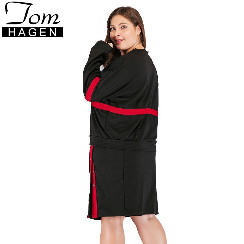 Manches À Pièces Femmes Longues Jupe Black Bande 2 Deux Taille Fendue Mode Grande Rouge Survêtement Mm Ensembles Graisse Ensemble De Été 07xAqgwOw