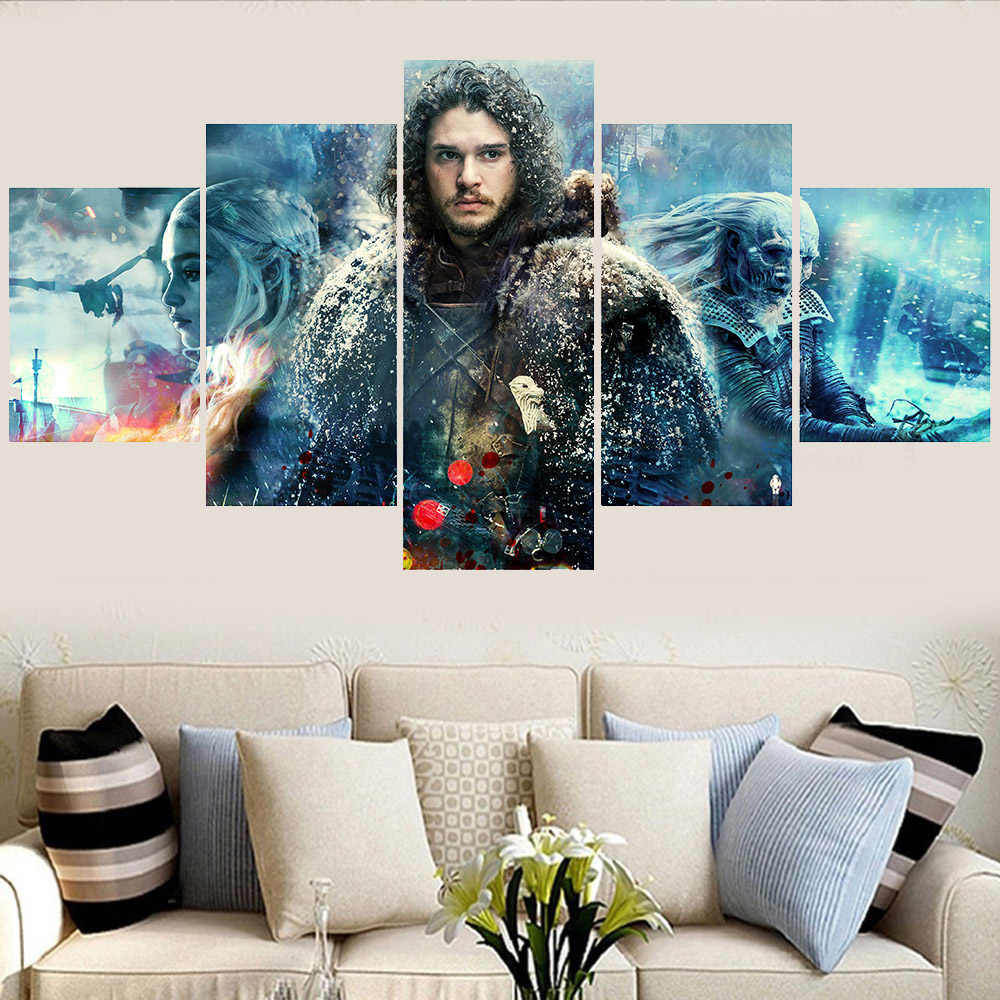 5 Panels Game of Thrones Season 8 Jon Snow Canvas Painting Prints Framed Picture Wall Art Home Decor For Living Room
