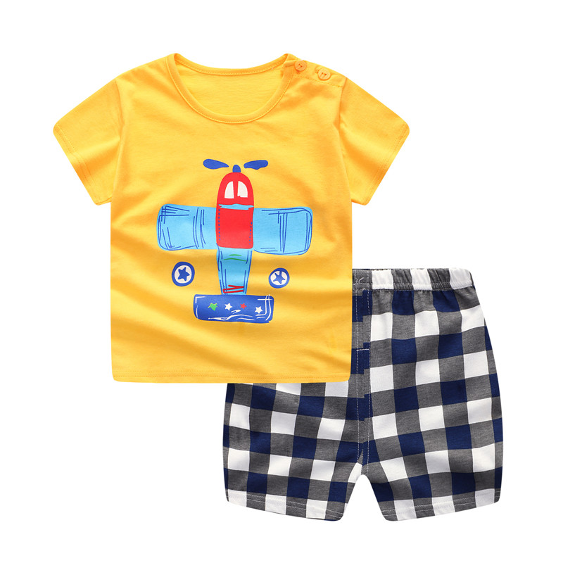 Plaid Baby Boy Clothes Summer 2018 New Aircraft Baby Boy Girl Clothing Set Cotton Baby Clothes Suits Short Infant Kids Clothes summer gorgeous embroidered children ancient chinese costume baby boy girl new year birthday joyous red performing clothes set