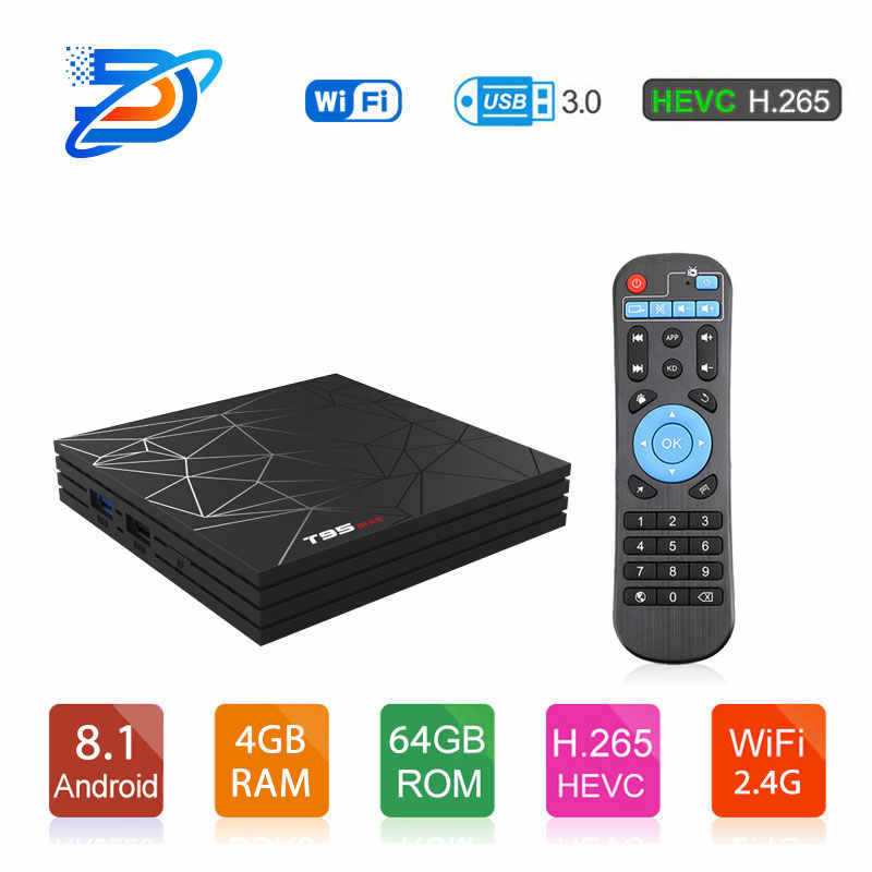 T95Max cort LPDDR4 Quad Core Smart TV BOX Android 9.0 Quadcore 4 gb gb 64 32 gb 2.4g & ghz Wi-fi BT 100 m 4 5 k Set top box X96