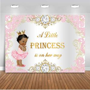 Baby Shower Backdrop Royal Princess Pink Silver Diamond Baby Shower Background Girl's Baby Shower Party Supplies Birthday Banner