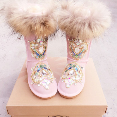 Hot Sale Pink Fur Keep Warm Cotton Shoes Winter Boots Rubber Sole Flat Bottom Snow Boots Fashion Australia Boots Women Real Pics stevens ste 14m col 03