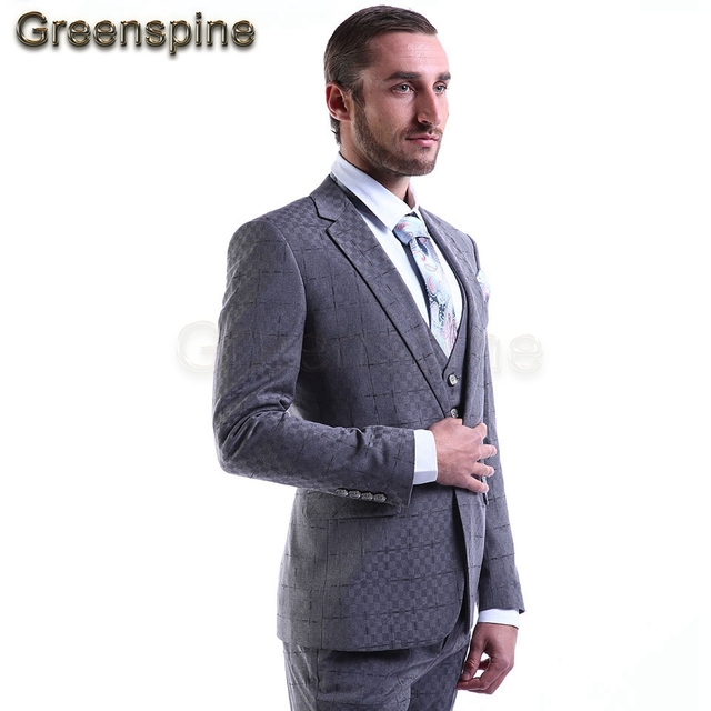 High End Men's Suits 3 Pieces slim fit(Jacket+Pants+Vest)Gray Blazer Custom tailor Made Groomsmen One Button Real Photo ZM249
