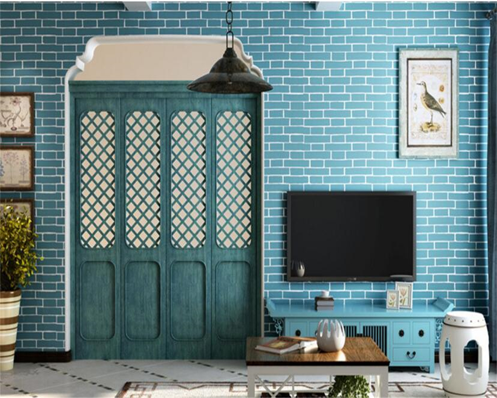 beibehang Brick Woven Nonwovens Wallpaper Living Room Hotels TV Background Simple Mediterranean papel de parede 3d Wallpaper