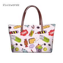ELVISWORDS Women Large Handbags Shoulder Bags Cute Snacks Patterns High Quality stylish for Girls Female Large Capacity New elviswords women large handbags shoulder bags creative dogs cat pattern high quality stylish for girls female large capacity new
