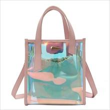 SHUSHIRUO Fashion Women Laser Transparent Handbags Composite Bags Female Travel Tote Shoulder Makeup Bolsa
